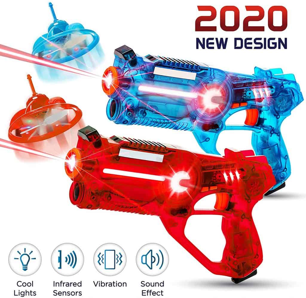 HipHopToy 2-Player Kids Laser Tag Gun Game with Flying Drone Target