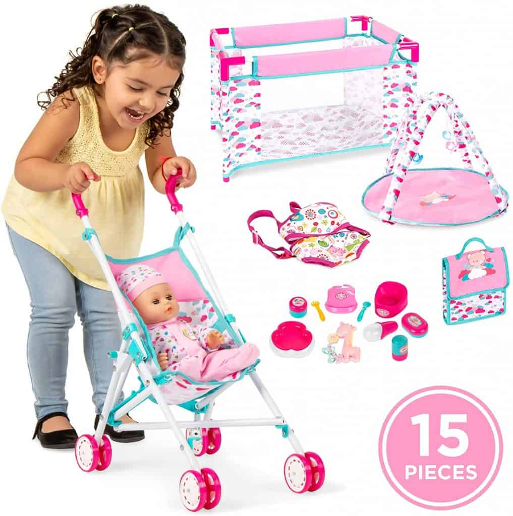 Best Choice Products Kids 15-Piece 13.5in Newborn Baby Doll Nursery Role Play Playset
