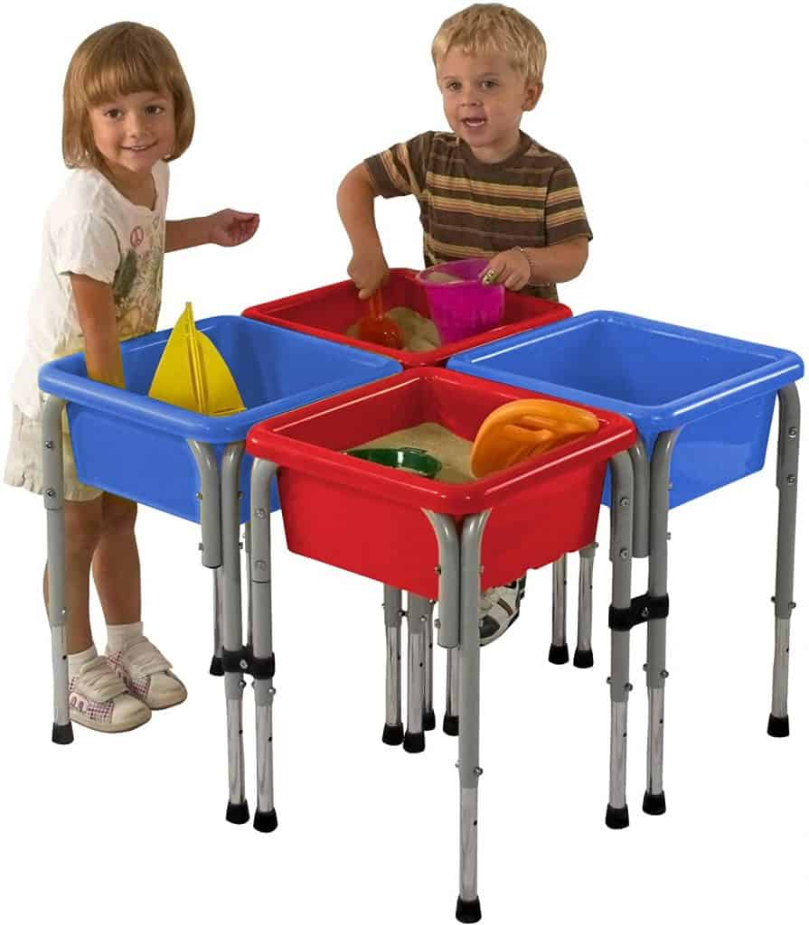ECR4Kids Assorted Colors Sand and Water Adjustable Activity Play Table Center