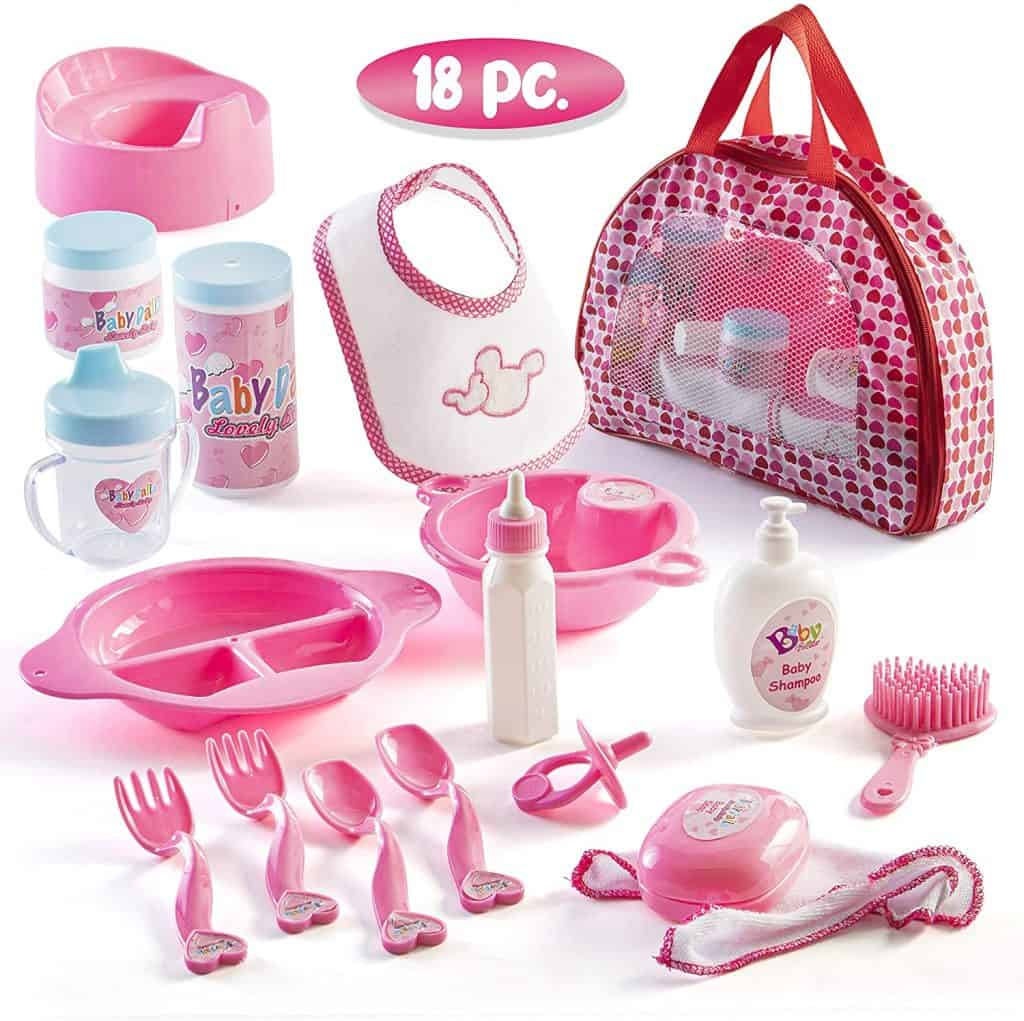Prextex 18 Piece My First Baby Doll Accessories in Zippered Carrying Case