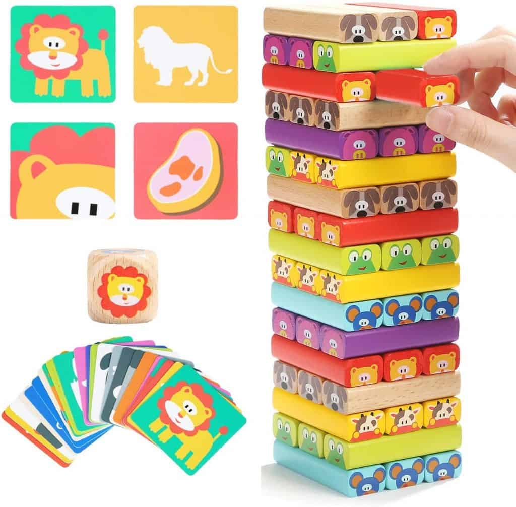 TOP BRIGHT Colored Wooden Blocks Stacking Board Games