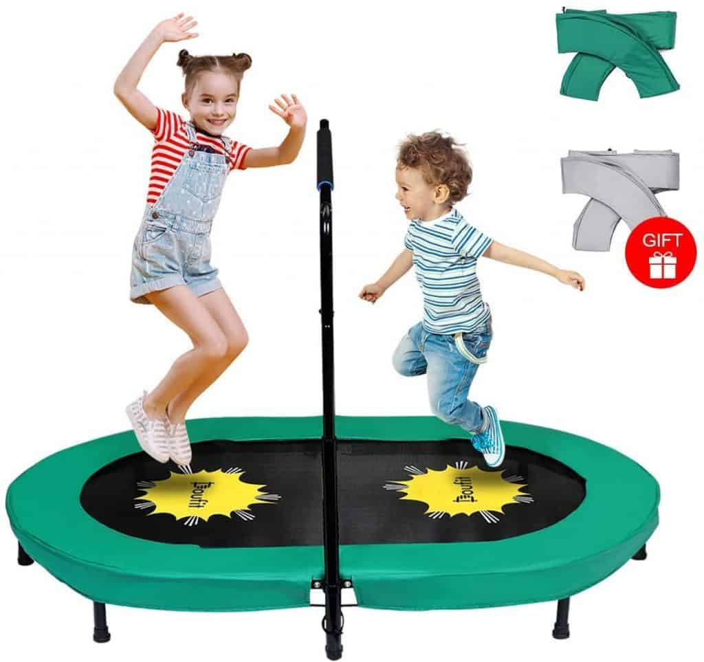 Doufit Trampoline for 2 Kids and Adults with Adjustable Handle