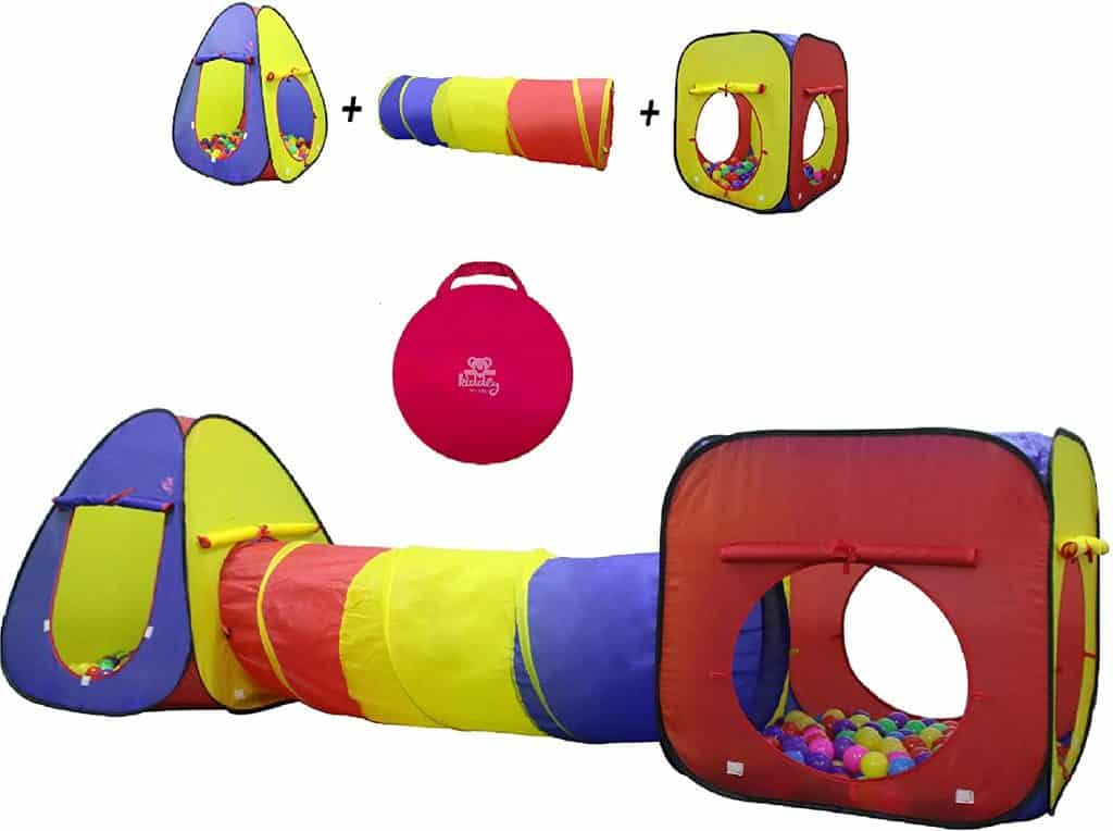 Kiddey 3pc Kids Play Tent Crawl Tunnel and Ball Pit Set