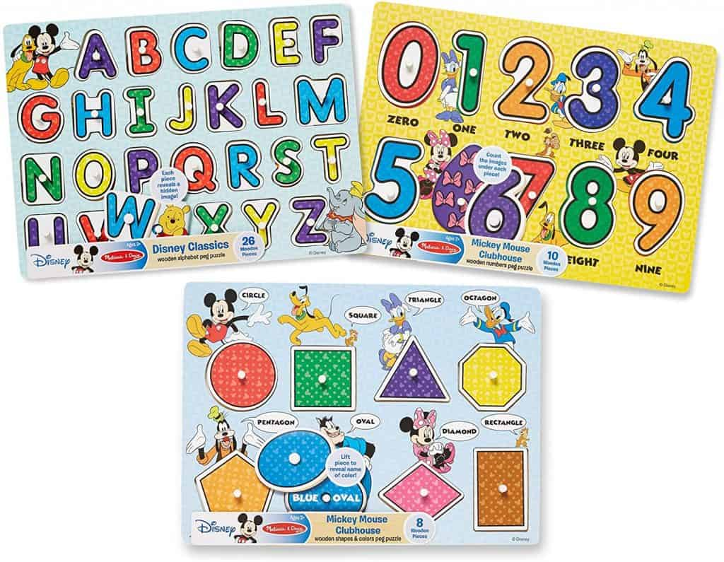 Melissa & Doug Disney Peg Puzzle Bundle-Alphabet