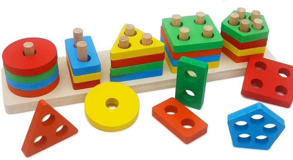 GETIANLAI Wooden Educational Preschool Toddler Toys Shape Color Sorting Block Puzzles