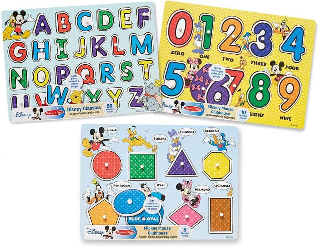Melissa & Doug Disney Peg Puzzle Bundle