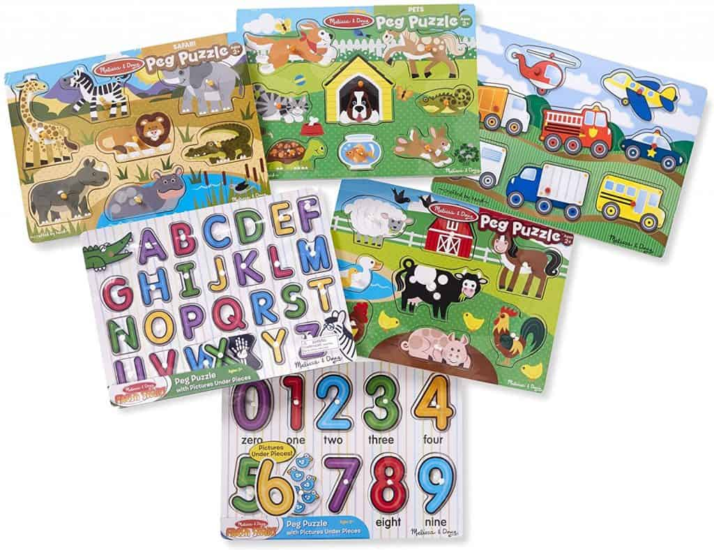 Best Puzzles for 2-Year-Olds: Melissa & Doug Wooden Peg Puzzle 6 Pack Numbers, Letters, Animals, Vehicles & Puzzle Storage Rack