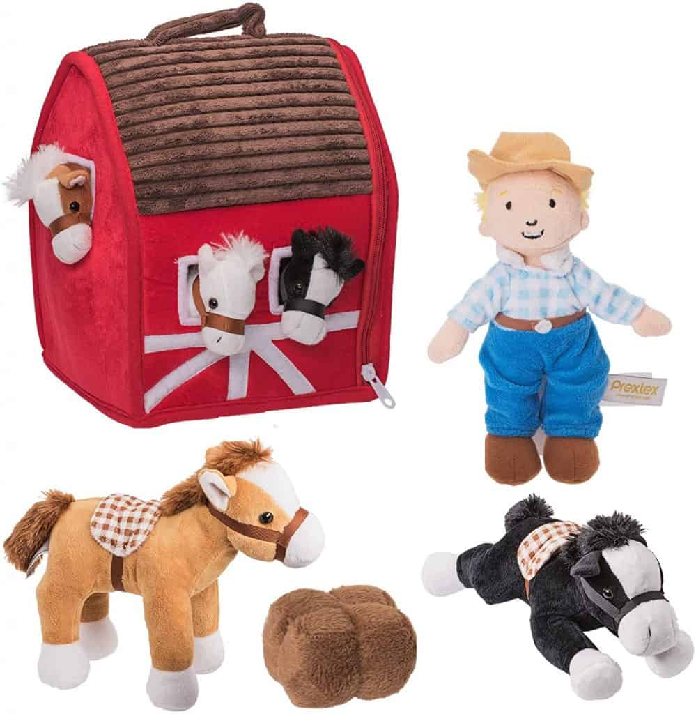 "Prextex Plush Farm House with Soft and Cuddly 5"" Plush Horses"