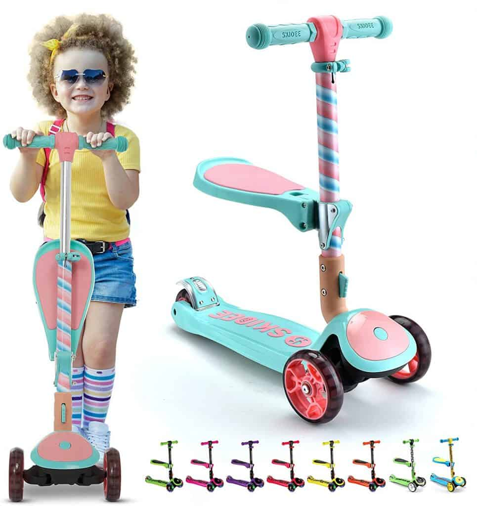 SKIDEE Kick Scooters for Kids 2-12 Years Old - Foldable Scooter with Removable Seat