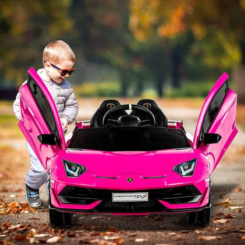 Uenjoy 12V Kids Electric Ride On Car Lamborghini Aventador SVJ Motorized Vehicles